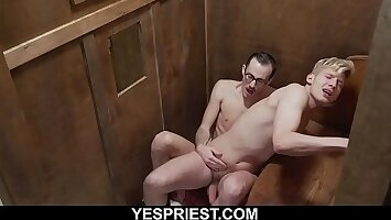 Hung blonde sect boy fucked in confessional by priest