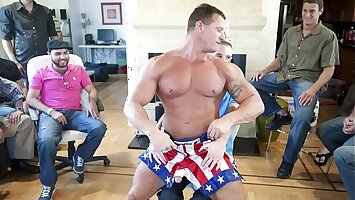GAYWIRE - Muscle Hunk Male Stripper Slings His Dick All round At A Beano Bandeau