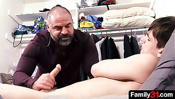 Muscle stepdaddy fucks his boy for someone's skin first duration